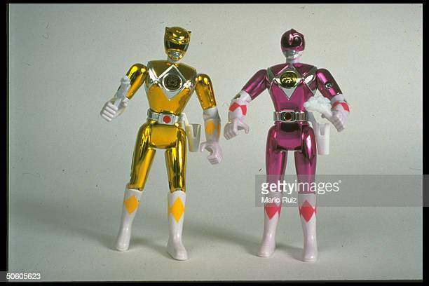 2 Mighty Morphin Power Rangers action figures from popular kiddie TV action fantasy series