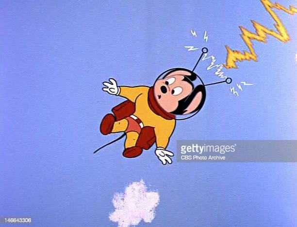 Mighty Mouse being taken to another planet in the MIGHTY MOUSE episode The Mysterious Package Original air date December 15 1961 Image is a frame grab