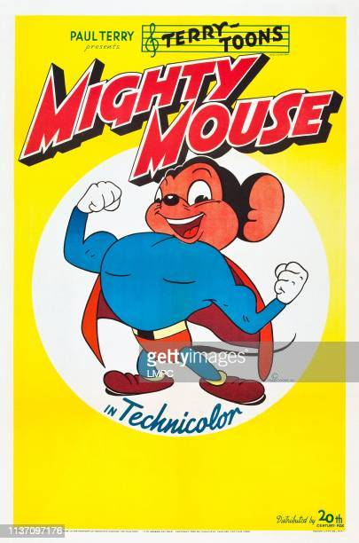 Mighty Mouse poster poster art for TerryToons cartoons in technicolor circa 1940s