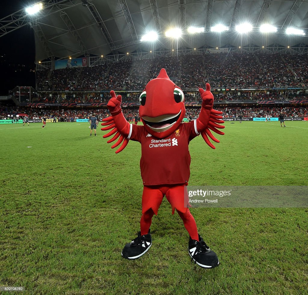 Mighty Red mascot of Liverpool during the Premier League Asia Trophy match between Liverpool FC and Leicester City FC at the Hong Kong Stadium on July 22, 2017 in Hong Kong, Hong Kong.