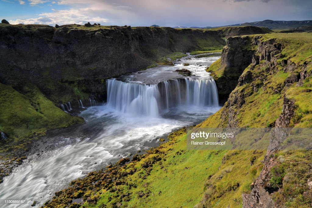 A mighty waterfall in a gorge in the remote highlands of Iceland : Stock-Foto