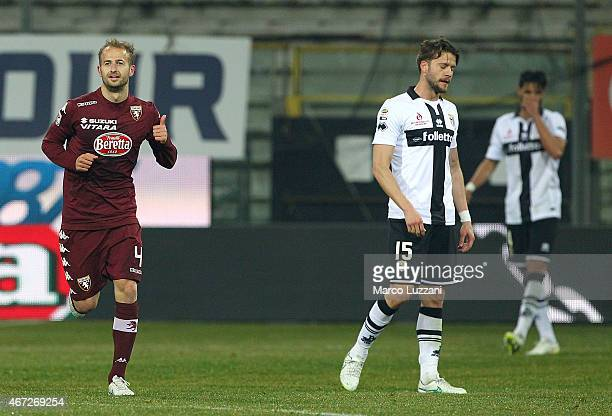 Migjen Basha of Torino FC celebrates his goal during the Serie A match between Parma FC and Torino FC at Stadio Ennio Tardini on March 22 2015 in...