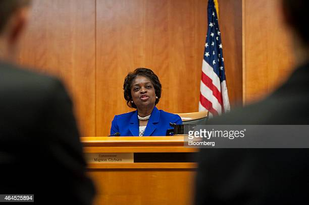 Mignon Clyburn commissioner at the Federal Communications Commission speaks during an open meeting to vote on internet regulations in Washington DC...