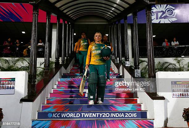 Mignon Du Preez Captain of South Africa leads her team onto the pitch during the Women's ICC World Twenty20 India 2016 Group A match between...