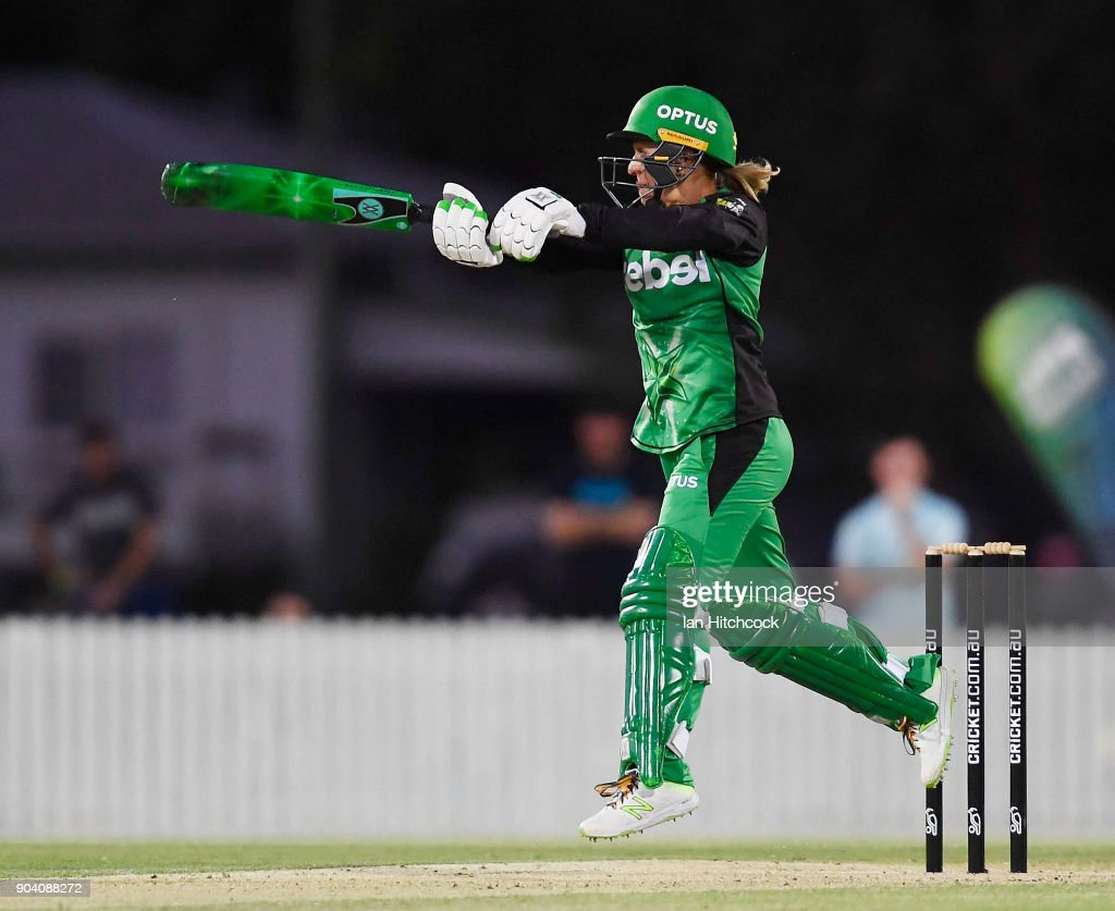 Mignon du Preez of the Stars bats during the the Women's Big Bash League match between the Brisbane Heat and the Melbourne Stars at Harrup Park on January 12, 2018 in Mackay, Australia.