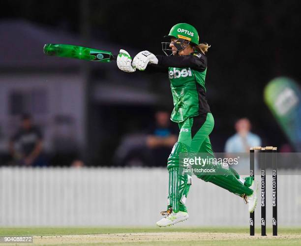 Mignon du Preez of the Stars bats during the the Women's Big Bash League match between the Brisbane Heat and the Melbourne Stars at Harrup Park on...