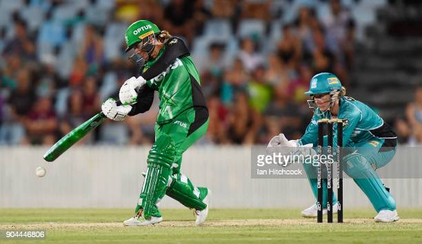 Mignon du Preez of the Stars bats during the Women's Big Bash League match between the Brisbane Heat and the Melbourne Stars on January 13 2018 in...