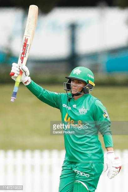 Mignon du Preez of the Stars celebrates reaching 50 runs during the Women's Big Bash League match between the Melbourne Stars and the Brisbane Heat...