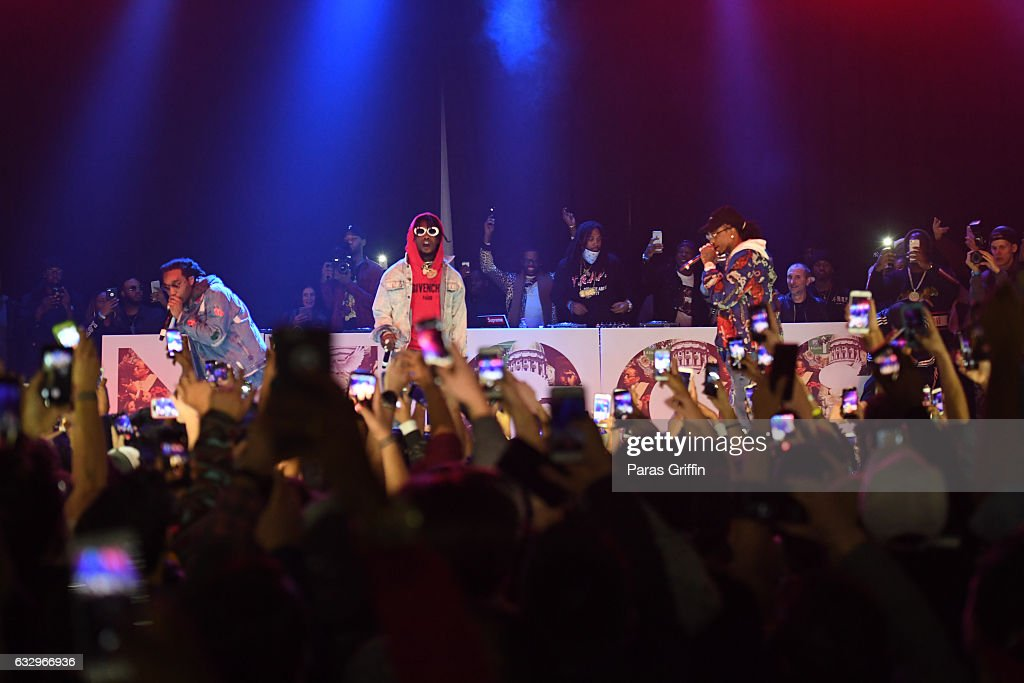 Migos perform onstage at Puma & Hot 107.9 presents Migos 'Culture' Album Release concert at Center Stage on January 28, 2017 in Atlanta, Georgia.