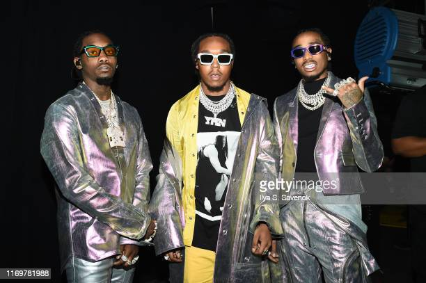 Migos pose backstage for Savage X Fenty Show Presented By Amazon Prime Video - Backstage at Barclays Center on September 10, 2019 in Brooklyn, New...