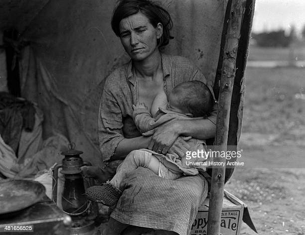 Migrant agricultural worker's family Seven children without food Mother aged thirtytwo Father is a native Californian Nipomo California 19360101...