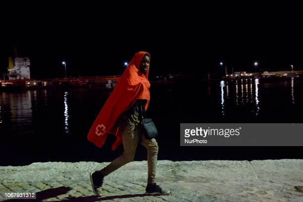 A migrant being transferred to the brand new Red cross Care units on November 28 Malaga