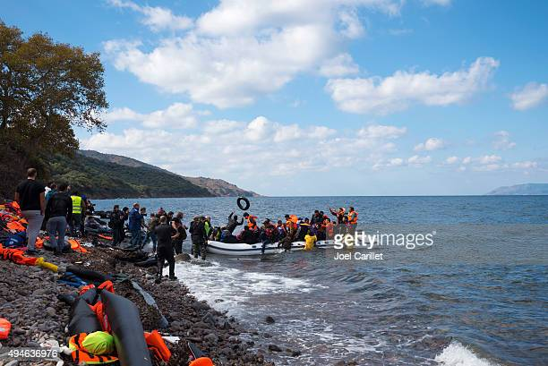 Migrant boat landing on Lesbos, Greece