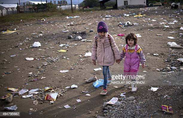 Migrant children arrive at the registration camp after crossing the GreekMacedonian border near Gevgelija on October 29 2015 A 17point plan announced...