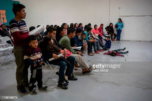TOPSHOT Migrant children from different Latin American wait to make travel arrangements at the Casa del Refugiado or The House of Refugee a new...