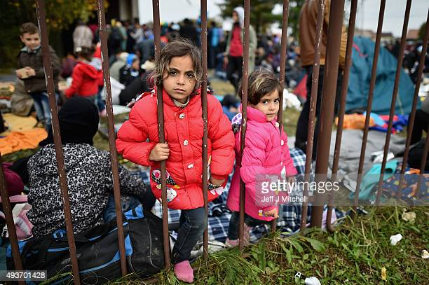 Migrant children look through a metal fence as they rest at a temporary holding area after being escorted by police from the Croatian and Slovenia...