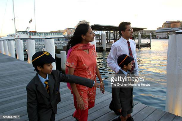 Migrant Family. The Makharia family immigrated from India, Ashish, in orange Rekha with sons Yashovardhan 9 years old and Harshvardhan 7 years. Taken...