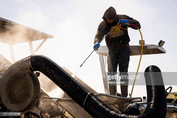 A migrant farm laborer from Fresh Harvest working with an H2A visa hoses down a spinach harvesting machine after the night shift on April 27 2020 in...