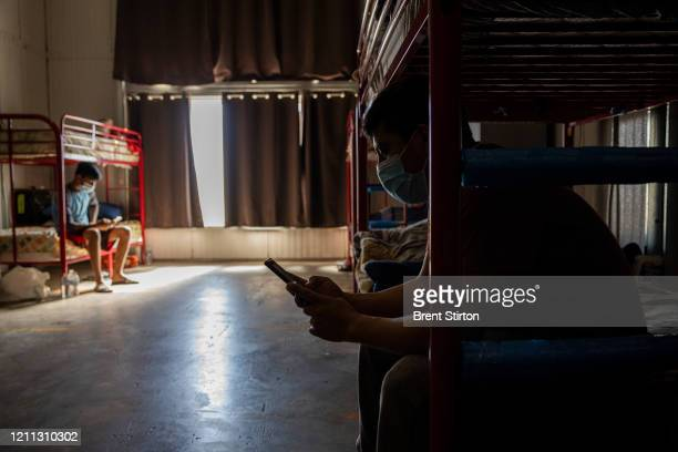 Migrant farm laborers with Fresh Harvest working with an H2A visa rest in their company dormitory on April 28 2020 in King City California Good...