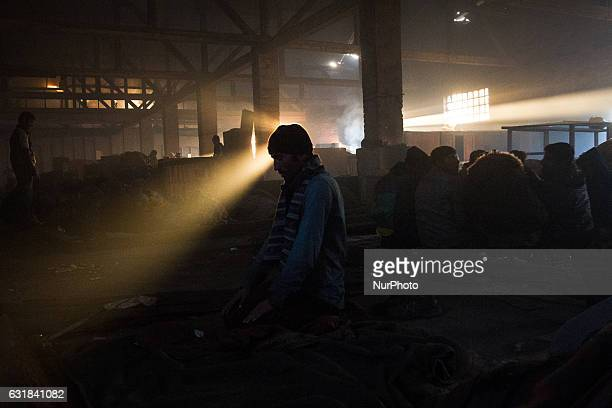Migrant held prayer at noon in a deserted area in the city center near the main train station in poor conditions in downtown Belgrade Serbia on 14...