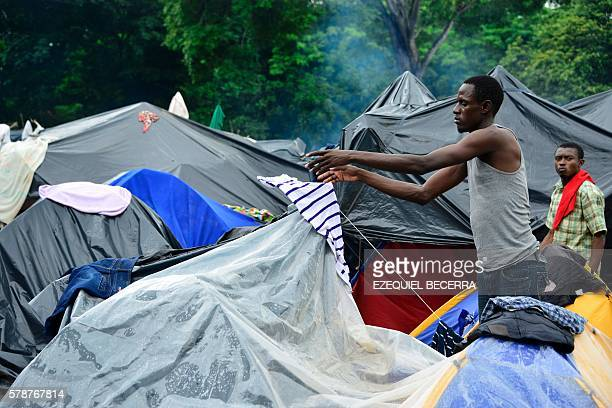 A migrant in an encampment of Africans in Penas Blancas Guanacaste Costa Rica in the border with Nicaragua on July 19 2016 In a makeshift camp at...