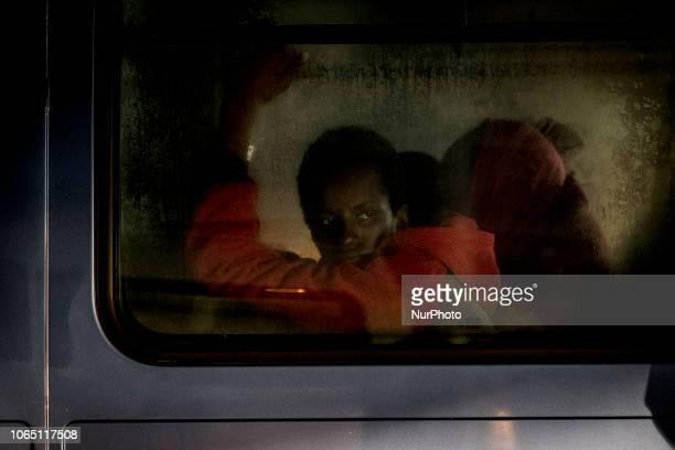 A migrant inside of a van waiting to be transferred to a center Malaga The Spaniard Maritime vessel rescued in the Mediterranean sea 202 migrants...