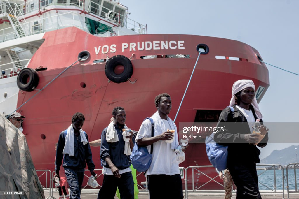 935 Migrant landing in Salerno July on 14,2017, The Ship Vos Prudencewith 935 migrants form Subsaharian,Libia, Mali, Pakistan, Nigeria, Marocco and 118 women, 16children, 100 unaccompanied minors, 30 men with exchanges.