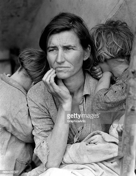 Migrant Mother by Dorothea Lange ; silver print, 1936. Commissioned by the Resettlement Administration.