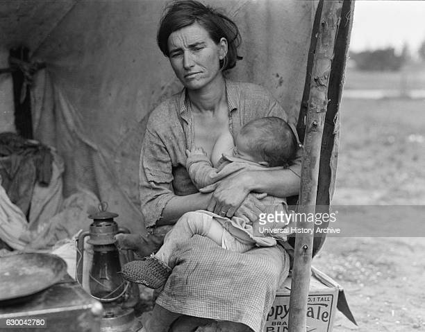 Migrant Mother Florence Thompson with One of her Children in Tent at Migrant Camp Nipomo California USA Dorothea Lange for Farm Security...