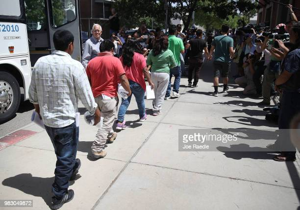 Migrant parents all of whom were separated from their children by US Customs and Border Patrol arrive at the Annunciation House migrant shelter after...