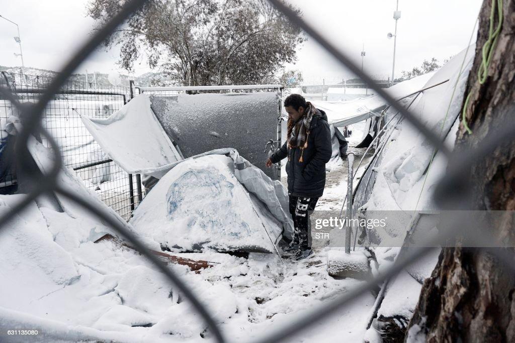 GREECE-EUROPE-MIGRANTS-WEATHER-SNOW : ニュース写真