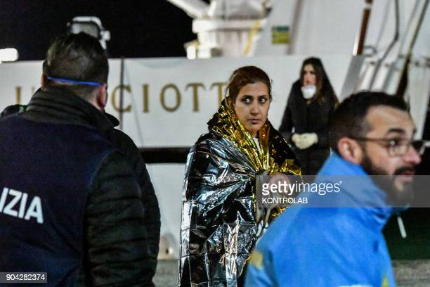 A migrant woman during the landing by ship Diciotti of the Italian Coast Guard occurred in the port of Crotone in Calabria southern Italy The 277...