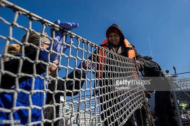 Migrants and refugees daily arrive at the port of Mytilini Greece on March 7 2016 upon their arrival from Turkey coast More than 131000 migrants and...