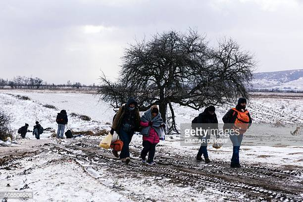 Migrants and refugees walk through a snowy field after crossing the Macedonian border into Serbia near the village of Miratovac on January 18 2016...