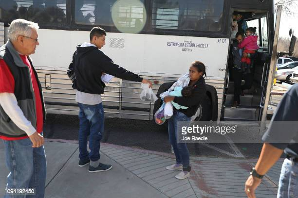 Migrants are dropped off at an Annunciation House facility to be cared for after being released by the US Immigration and Customs Enforcement on...