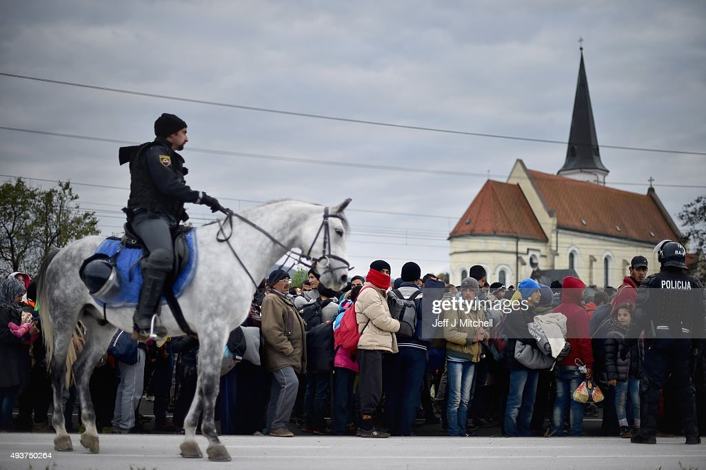 Migrants Cross Into Slovenia : News Photo