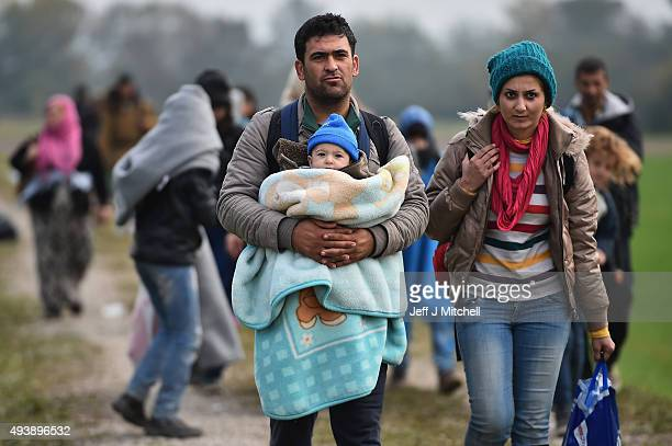 Migrants are escorted through fields by police as they are walked from the village of Rigonce to Brezice refugee camp on October 23, 2015 in...