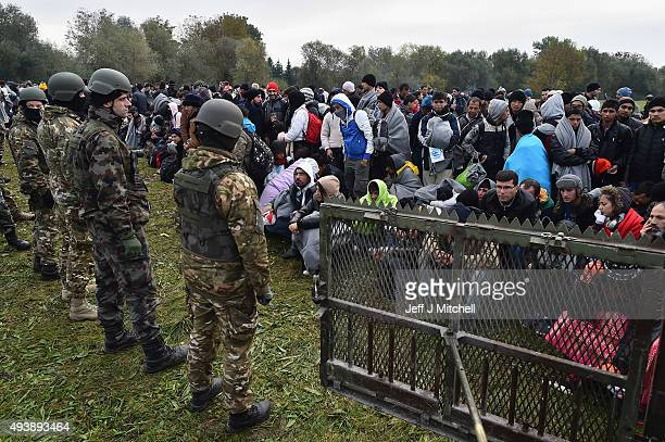 Migrants are held at the village of Rigonce after crossing over from Croatia on October 23 2015 in Rigonce Slovenia Thousands of migrants marched...