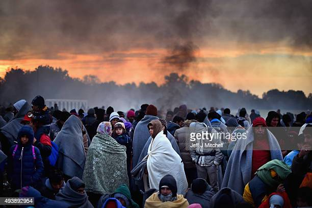 Migrants are held back by the police near the village of Rigoncebefore being walked to Brezice refugee camp on October 23 2015 in Rigonce Slovenia...