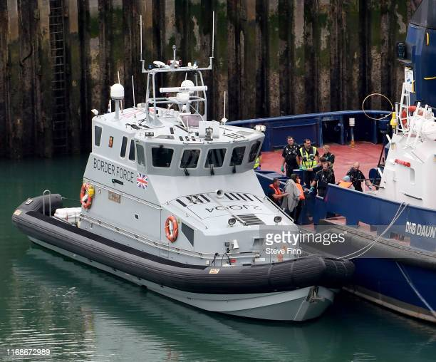 Migrants are processed at the Port of Dover on September 10, 2019 in Dover, England. A record number of Migrants from at least eight different...