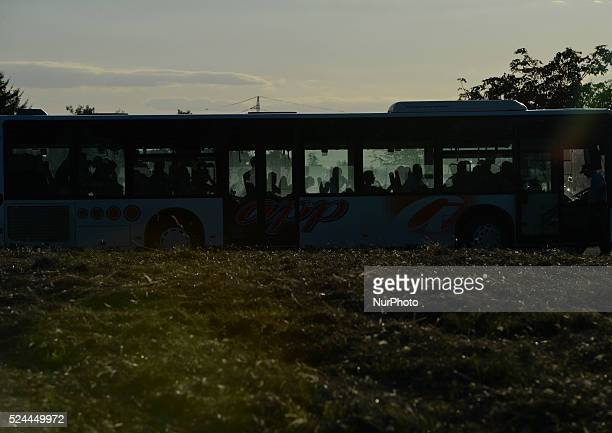 Migrants arrive at the temporary transfer camp in Opatovac near border crossing point between Serbia and Croatia in Opatovac Croatia on September 21...