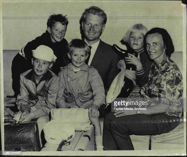 Migrants arrive in Own PlaneMr amp Mrs Peter Ahrens with their children at Mascot today after arriving in their own Dragon Rapide Aircraft from...