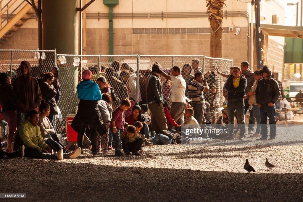 U.S. Customs And Border Protection Agency Holding Detained Migrants Under Bridge In El Paso : News Photo