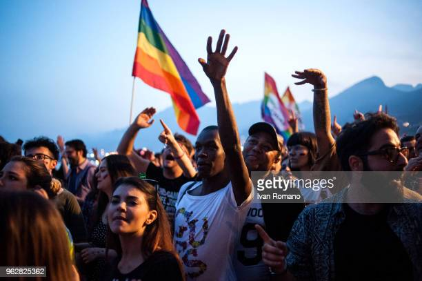 Migrants belonging to the LGBT community participate in the parade of LGBT Salerno Pride 2018 organized by Arcigay Salerno to claim the civil rights...
