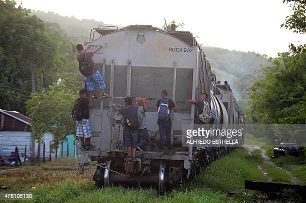 Migrants board a train in Palenque Chiapas State Mexico on June 19 2015 Hundreds of Central American migrants arrive in Mexico on their way to the...