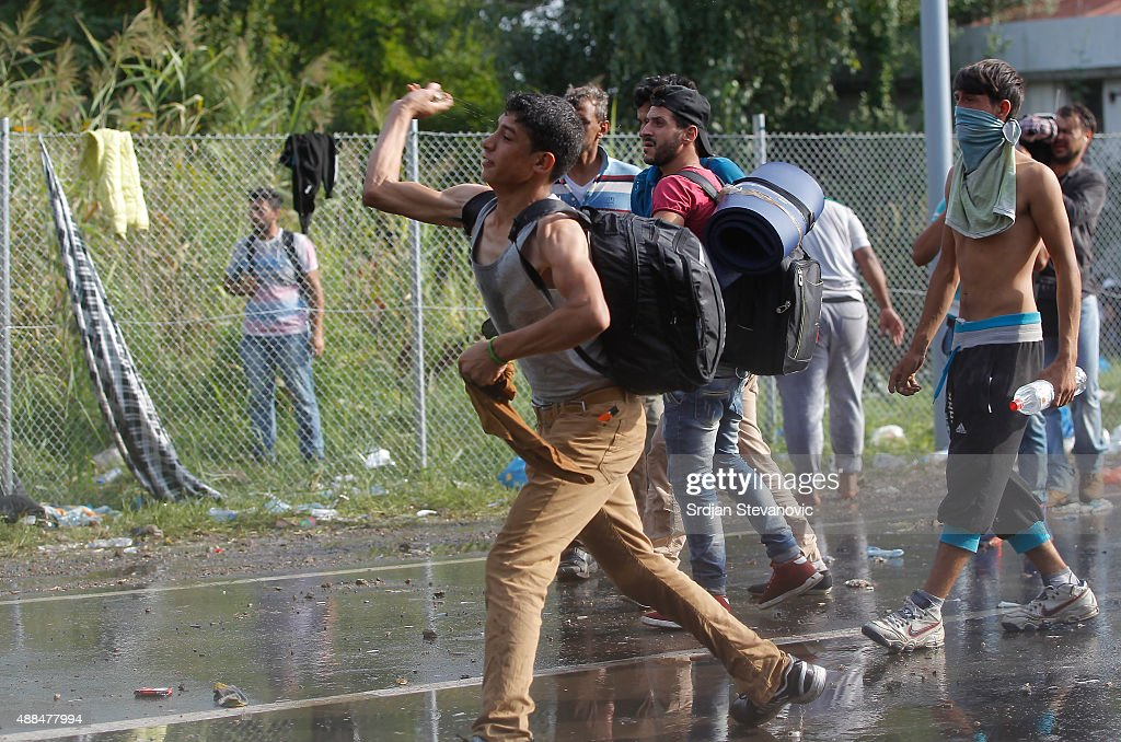 Violent Clashes On The Hungarian Border After Migrants Attempt To Break Through The Fence : News Photo