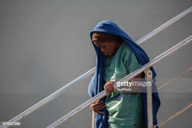 Migrants disembark from the Spanish ship 'Cantabria' in the harbour of Salerno Italy 05 November 2017 Spanish Navy ship rescued on 03 November over...