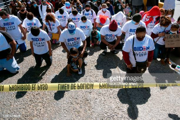 Migrants hold a demonstration demanding clearer United States migration policies, at San Ysidro crossing port in Tijuana, Baja California state,...