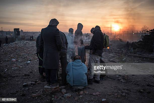 Migrants in Belgrade on January 16 2017 Nearly 7000 asylumseekers are currently stuck in Serbia as a result of tight border controls in Hungary and...