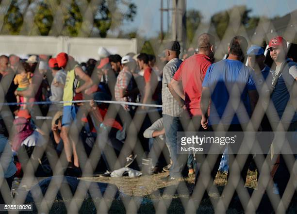 Migrants in the temporary transfer camp in Opatovac near border crossing point between Serbia and Croatia in Opatovac Croatia on September 21 2015...